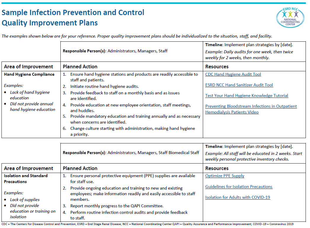 Sample Infection Plan Graphic